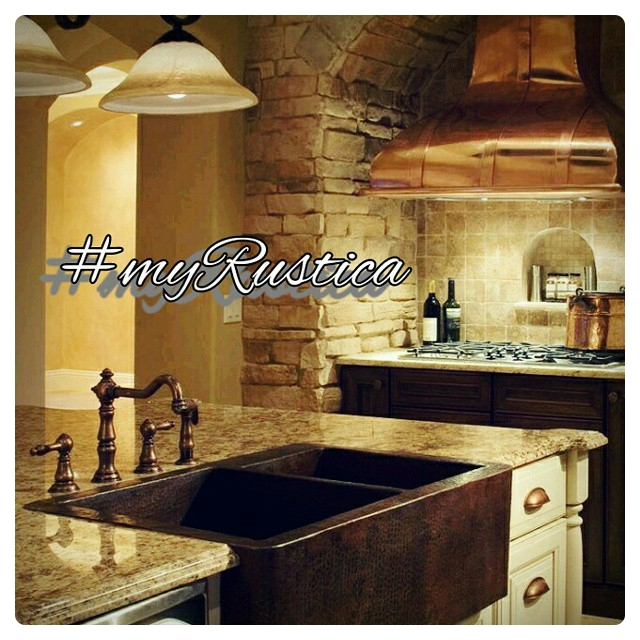 Large Rustic Drop-in Copper Kitchen Sink
