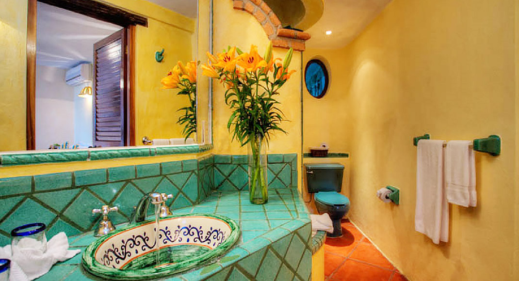 mexican bathroom tiles, sinks and toilets