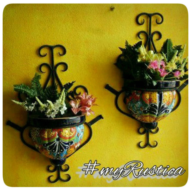 mexican talavera pottery planters, sconces, pots photos